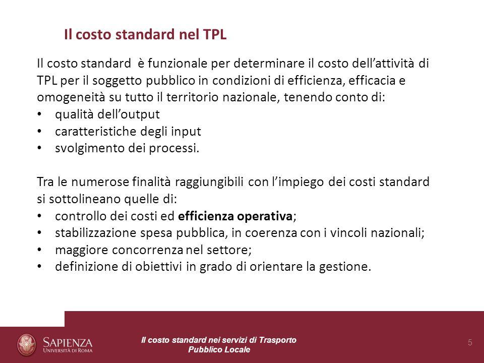 Il costo standard nel TPL