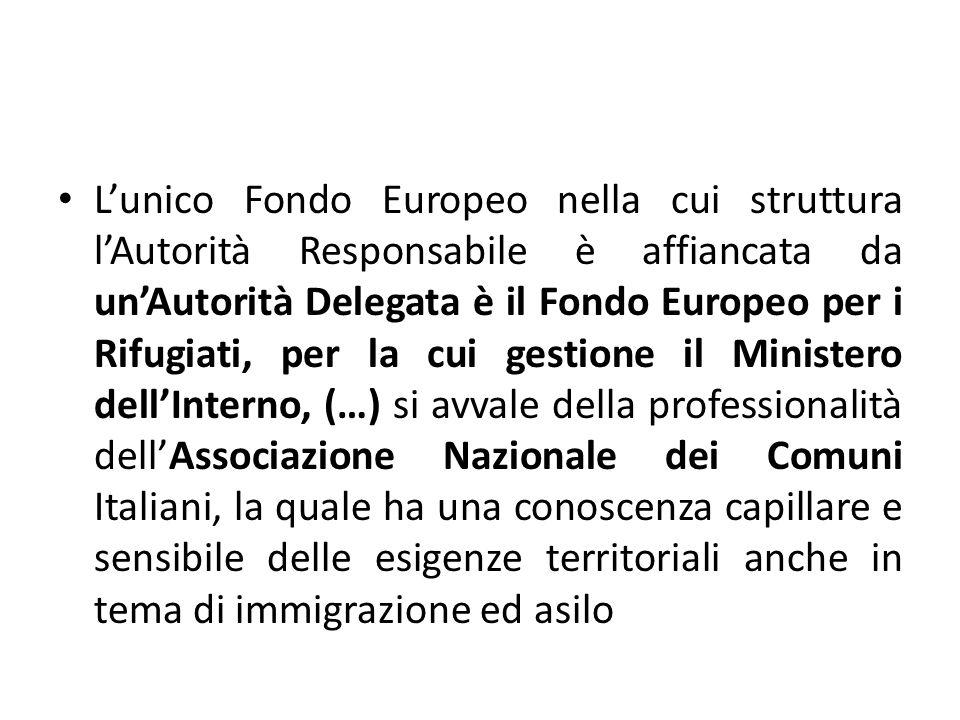 L'unico Fondo Europeo nella cui struttura l'Autorità Responsabile è affiancata da un'Autorità Delegata è il Fondo Europeo per i Rifugiati, per la cui gestione il Ministero dell'Interno, (…) si avvale della professionalità dell'Associazione Nazionale dei Comuni Italiani, la quale ha una conoscenza capillare e sensibile delle esigenze territoriali anche in tema di immigrazione ed asilo