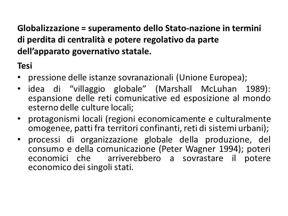 Globalizzazione = superamento dello Stato-nazione in termini di perdita di centralità e potere regolativo da parte dell'apparato governativo statale.