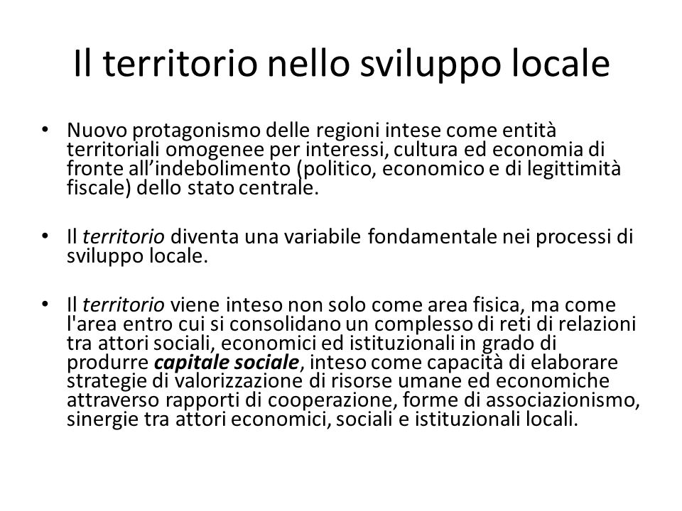 Il territorio nello sviluppo locale