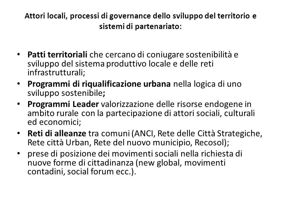 Attori locali, processi di governance dello sviluppo del territorio e sistemi di partenariato: