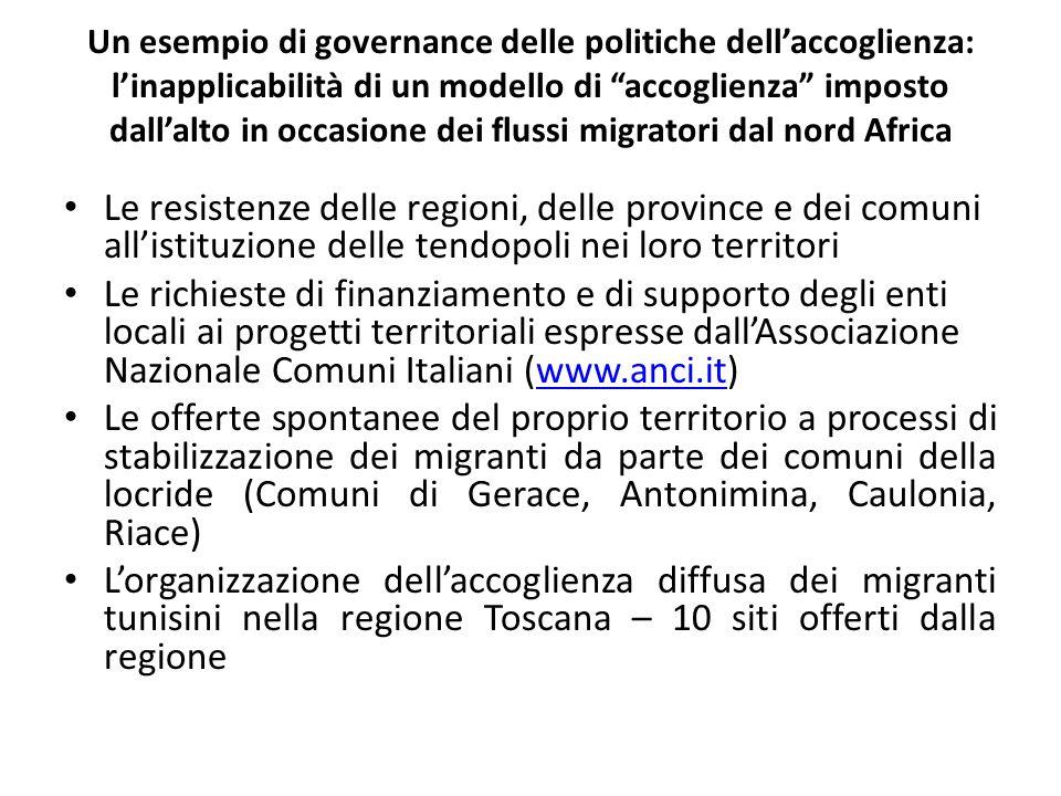 Un esempio di governance delle politiche dell'accoglienza: l'inapplicabilità di un modello di accoglienza imposto dall'alto in occasione dei flussi migratori dal nord Africa