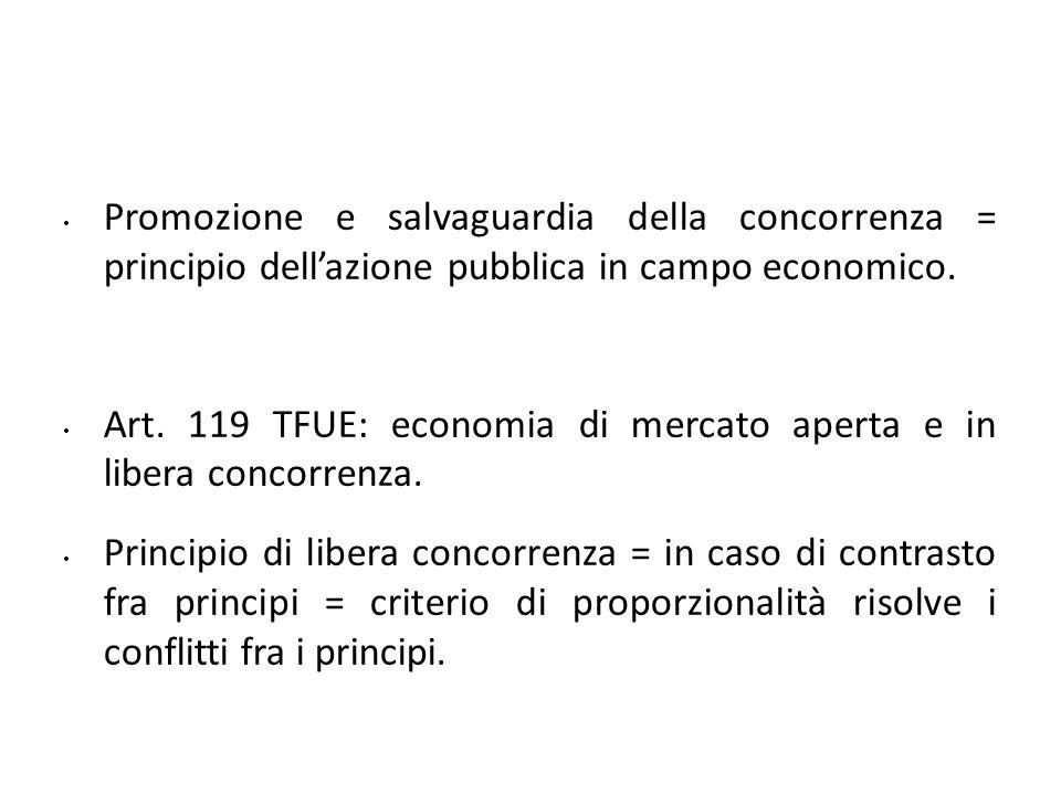 Promozione e salvaguardia della concorrenza = principio dell'azione pubblica in campo economico.