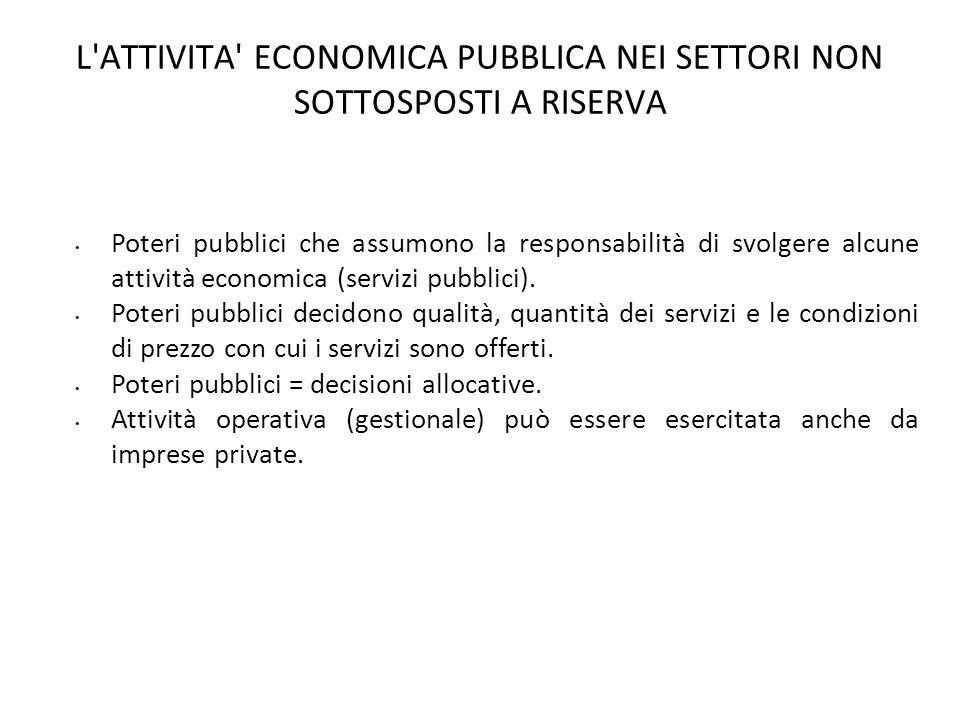 L ATTIVITA ECONOMICA PUBBLICA NEI SETTORI NON SOTTOSPOSTI A RISERVA