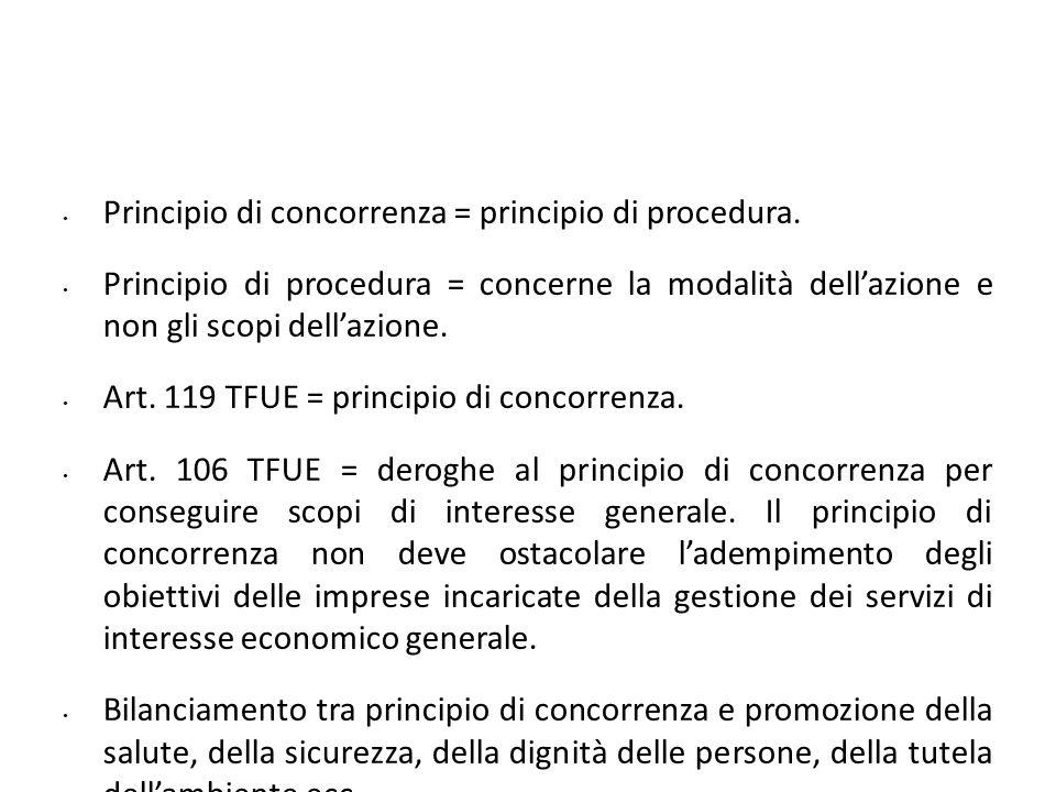 Principio di concorrenza = principio di procedura.