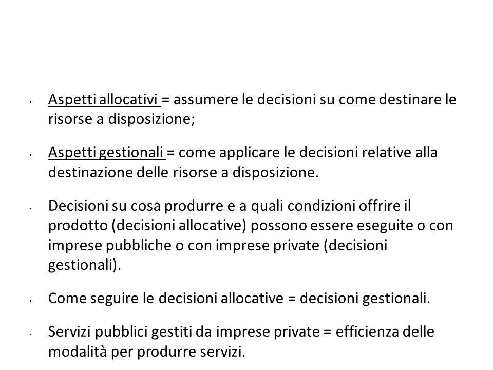 Aspetti allocativi = assumere le decisioni su come destinare le risorse a disposizione;