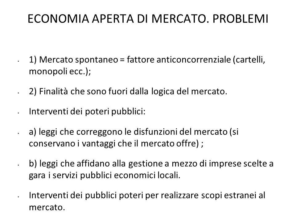 ECONOMIA APERTA DI MERCATO. PROBLEMI