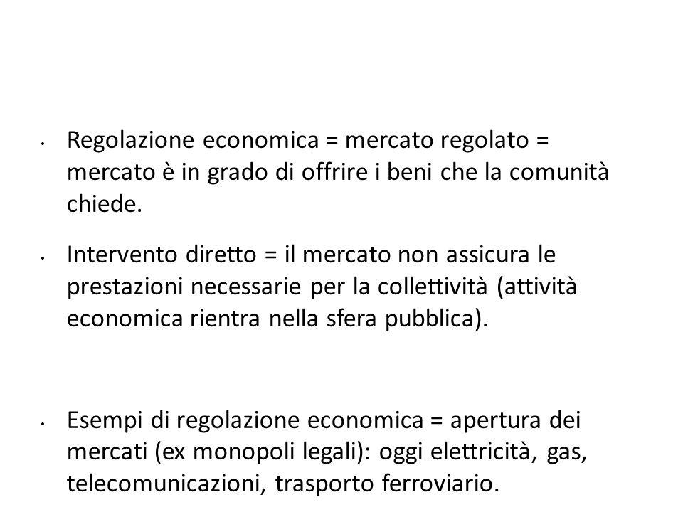 Regolazione economica = mercato regolato = mercato è in grado di offrire i beni che la comunità chiede.