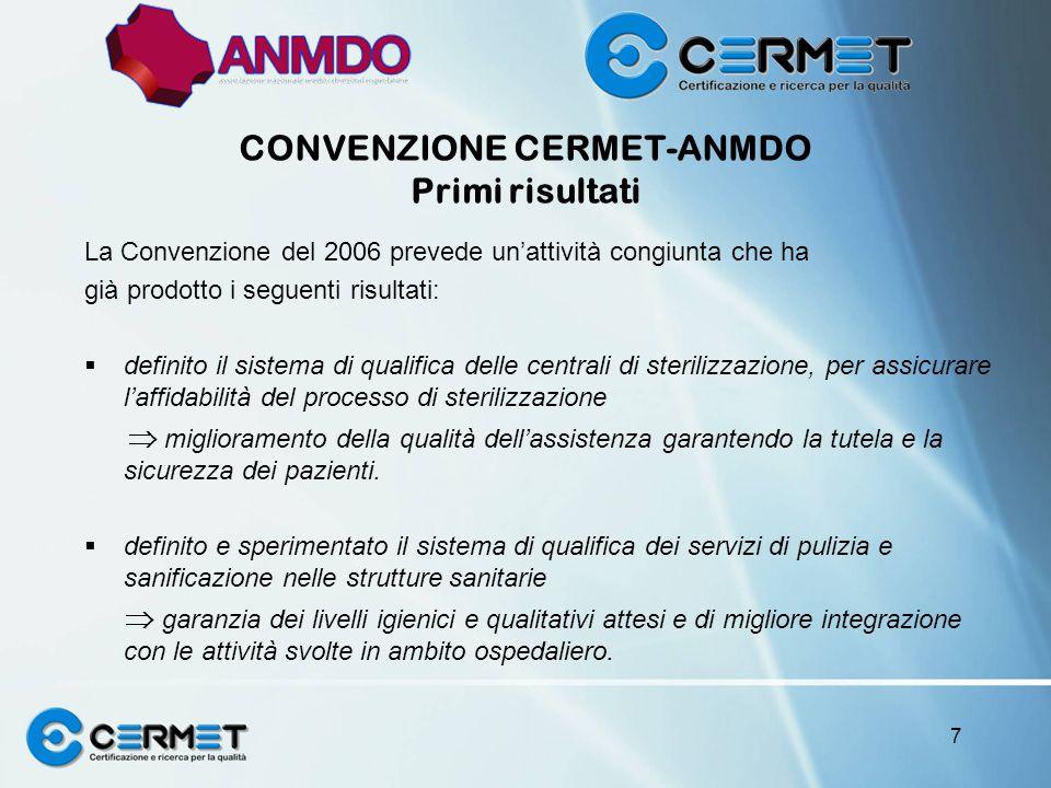 CONVENZIONE CERMET-ANMDO Primi risultati