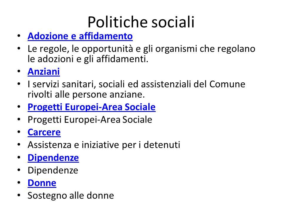Politiche sociali Adozione e affidamento