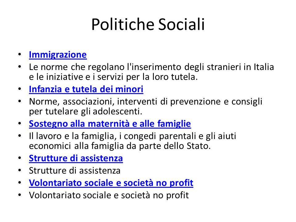 Politiche Sociali Immigrazione