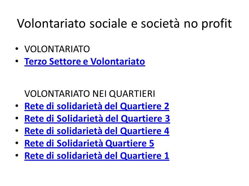 Volontariato sociale e società no profit