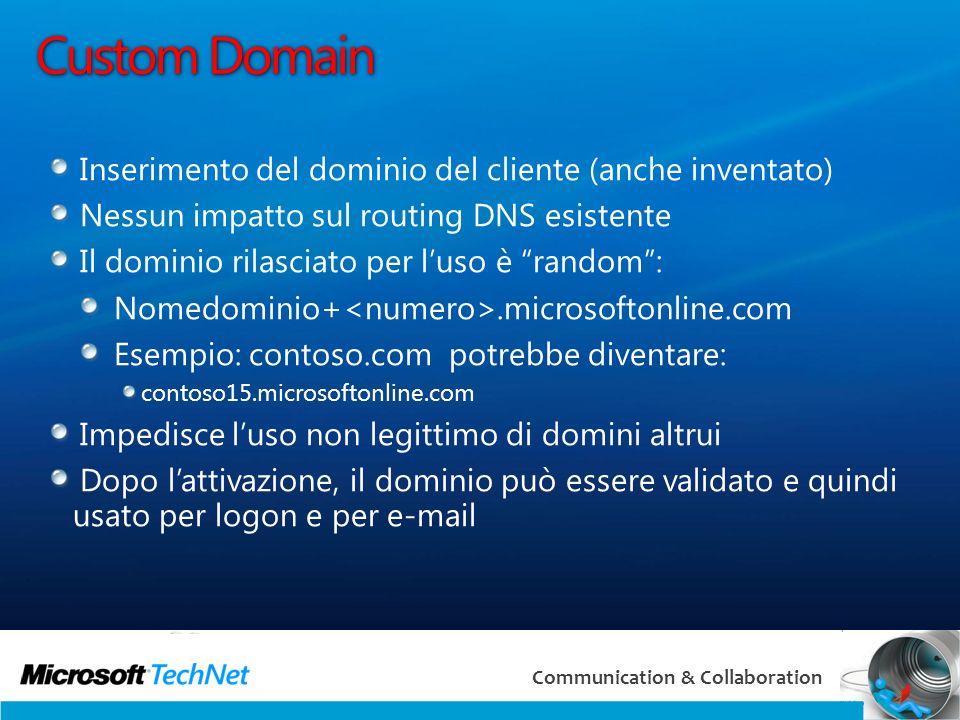 Custom Domain Inserimento del dominio del cliente (anche inventato)