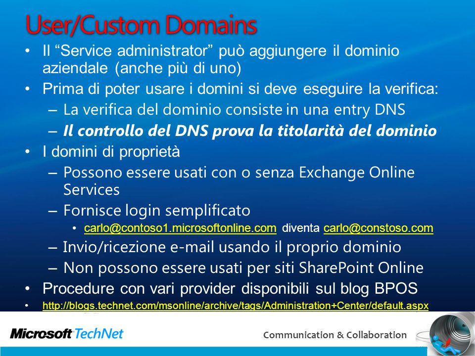 Online Airlift 3/29/2017. User/Custom Domains. Il Service administrator può aggiungere il dominio aziendale (anche più di uno)