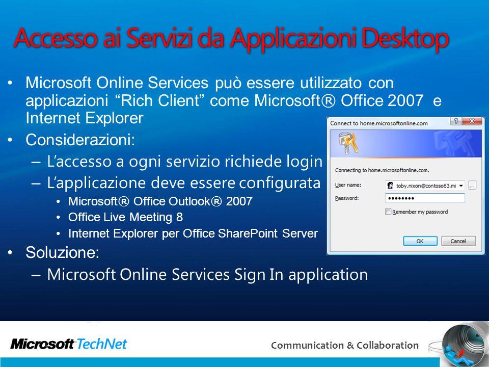 Accesso ai Servizi da Applicazioni Desktop