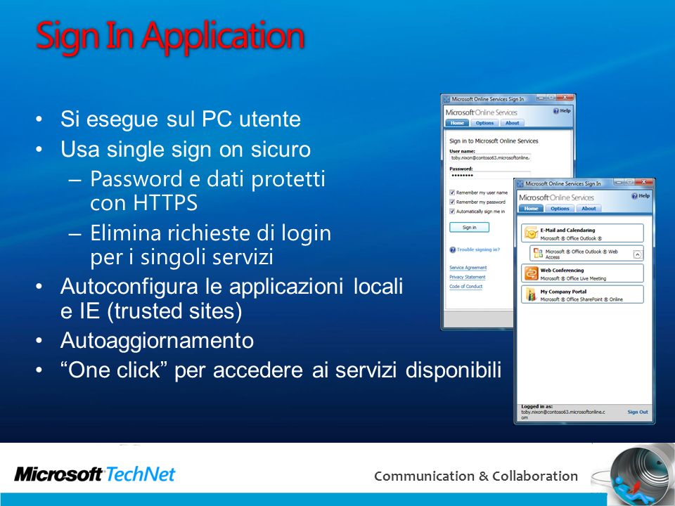 Sign In Application Si esegue sul PC utente Usa single sign on sicuro