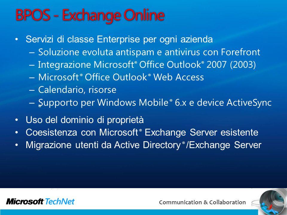 BPOS - Exchange Online Servizi di classe Enterprise per ogni azienda