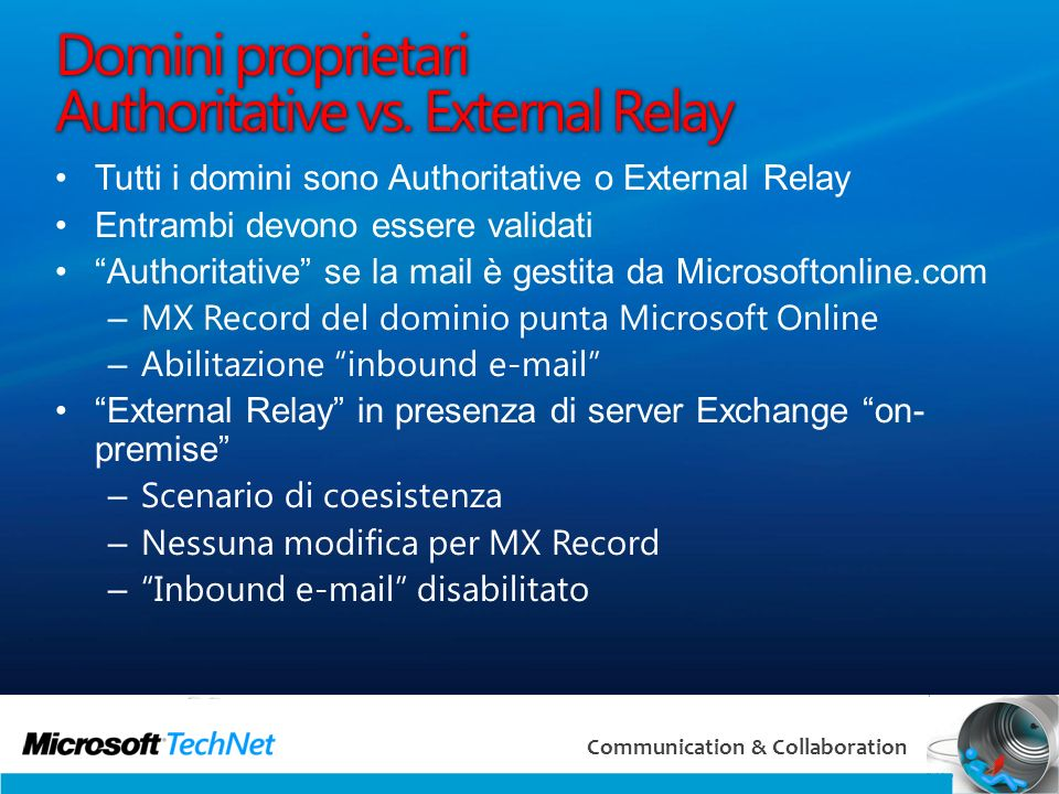 Domini proprietari Authoritative vs. External Relay