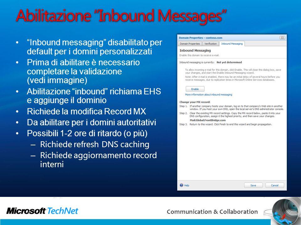 Abilitazione Inbound Messages