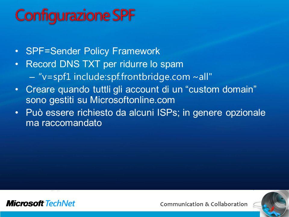 Configurazione SPF SPF=Sender Policy Framework