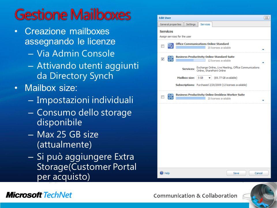 Gestione Mailboxes Creazione mailboxes assegnando le licenze