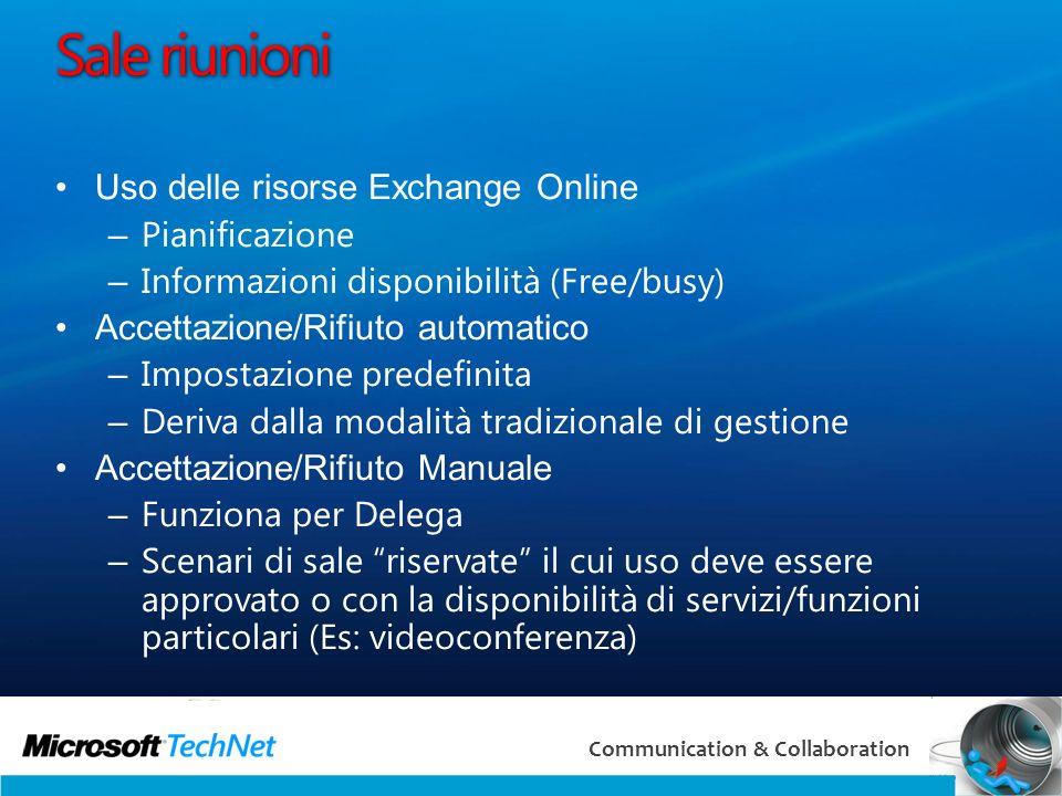 Sale riunioni Uso delle risorse Exchange Online Pianificazione