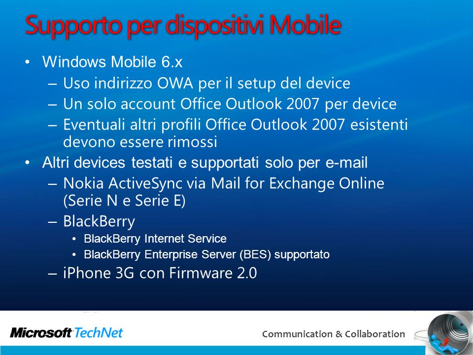 Supporto per dispositivi Mobile