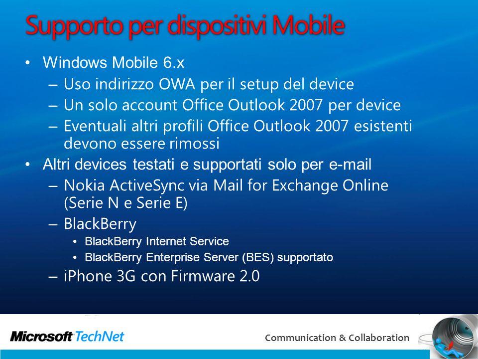 Supporto per dispositivi Mobile