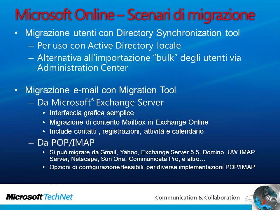 Microsoft Online – Scenari di migrazione