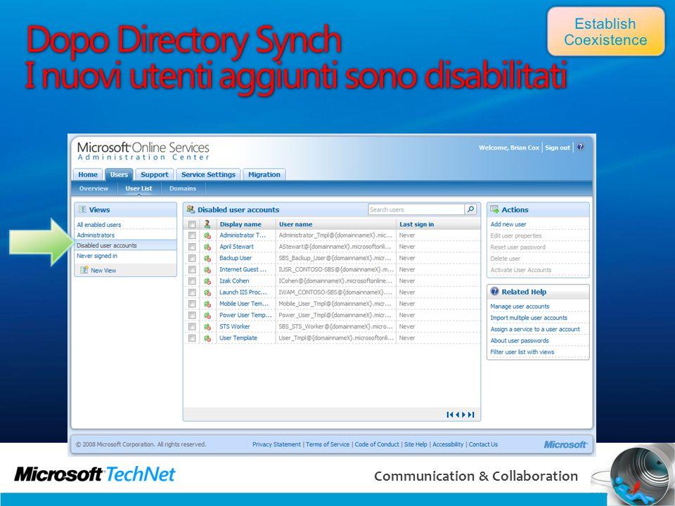 Dopo Directory Synch I nuovi utenti aggiunti sono disabilitati