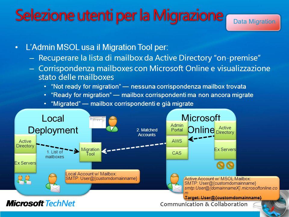 Selezione utenti per la Migrazione