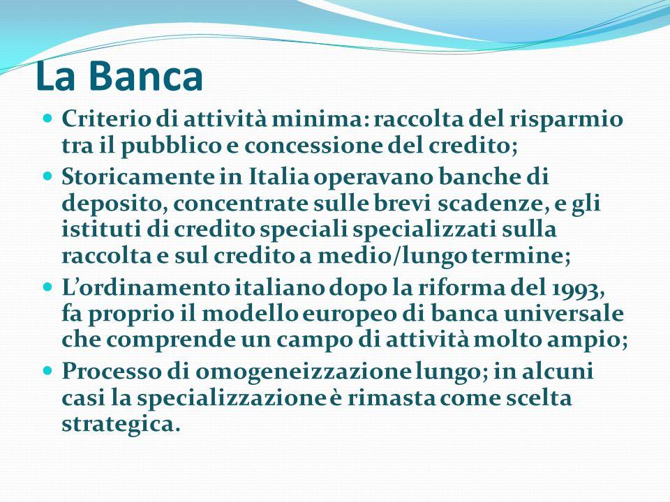 La Banca Criterio di attività minima: raccolta del risparmio tra il pubblico e concessione del credito;