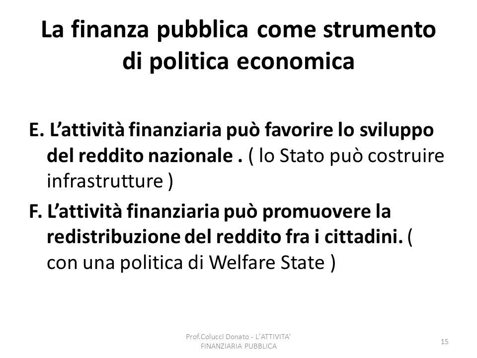 La finanza pubblica come strumento di politica economica