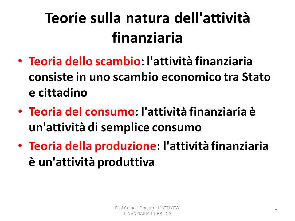 Teorie sulla natura dell attività finanziaria