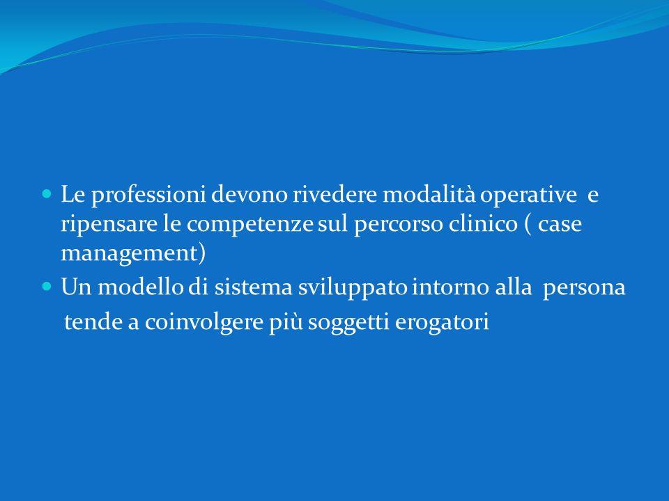 Le professioni devono rivedere modalità operative e ripensare le competenze sul percorso clinico ( case management)