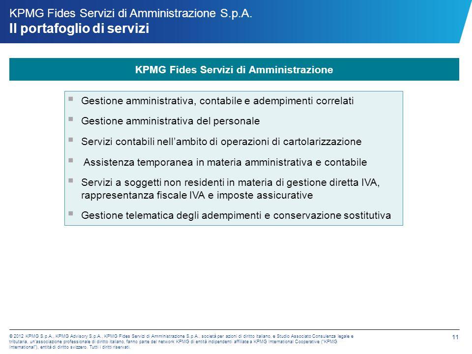 © 2012 KPMG S. p. A. , KPMG Advisory S. p. A