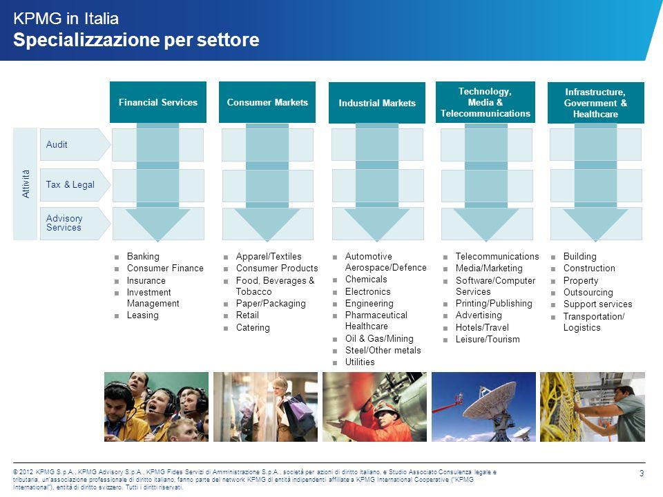 KPMG S.p.A. Audit KPMG S.p.A. è presente in Italia con 28 uffici e circa 1.300 professionisti. Attività.
