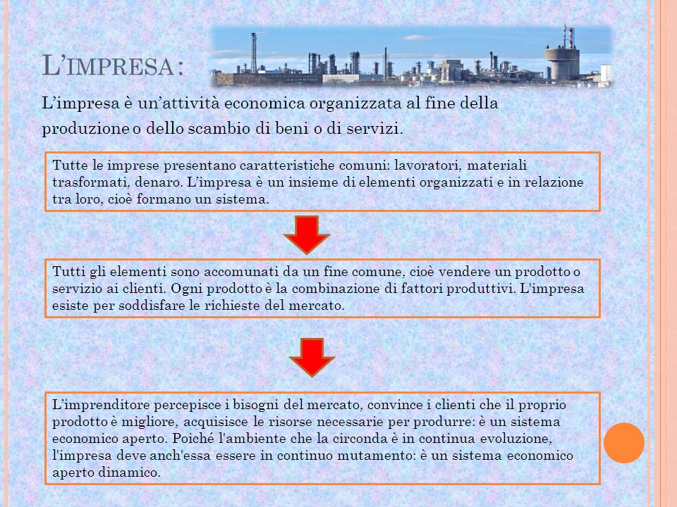 L'impresa : L'impresa è un'attività economica organizzata al fine della produzione o dello scambio di beni o di servizi.
