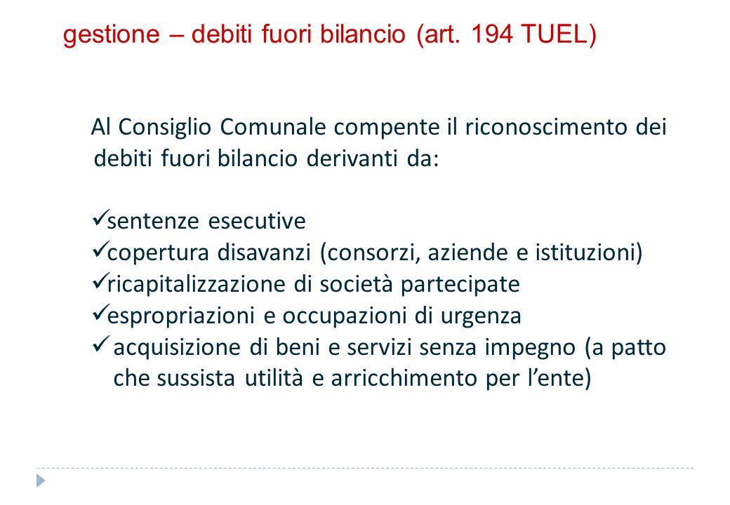 gestione – variazioni di bilancio (art. 175 TUEL)