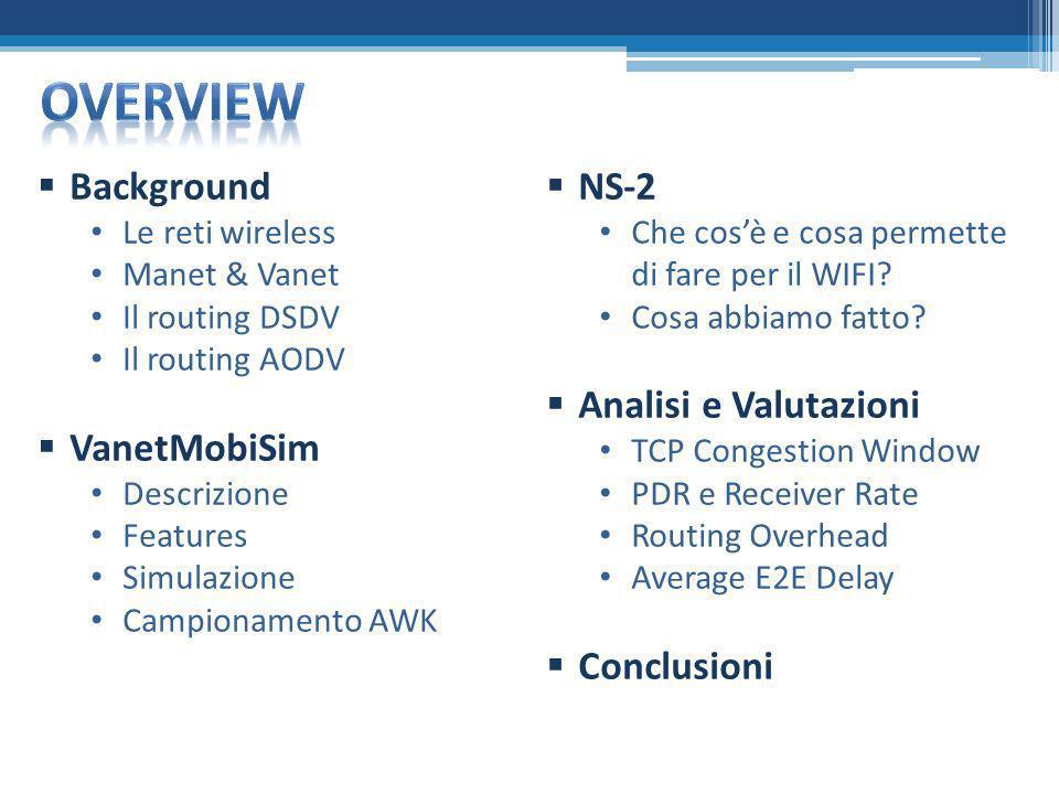 Overview Background VanetMobiSim NS-2 Analisi e Valutazioni