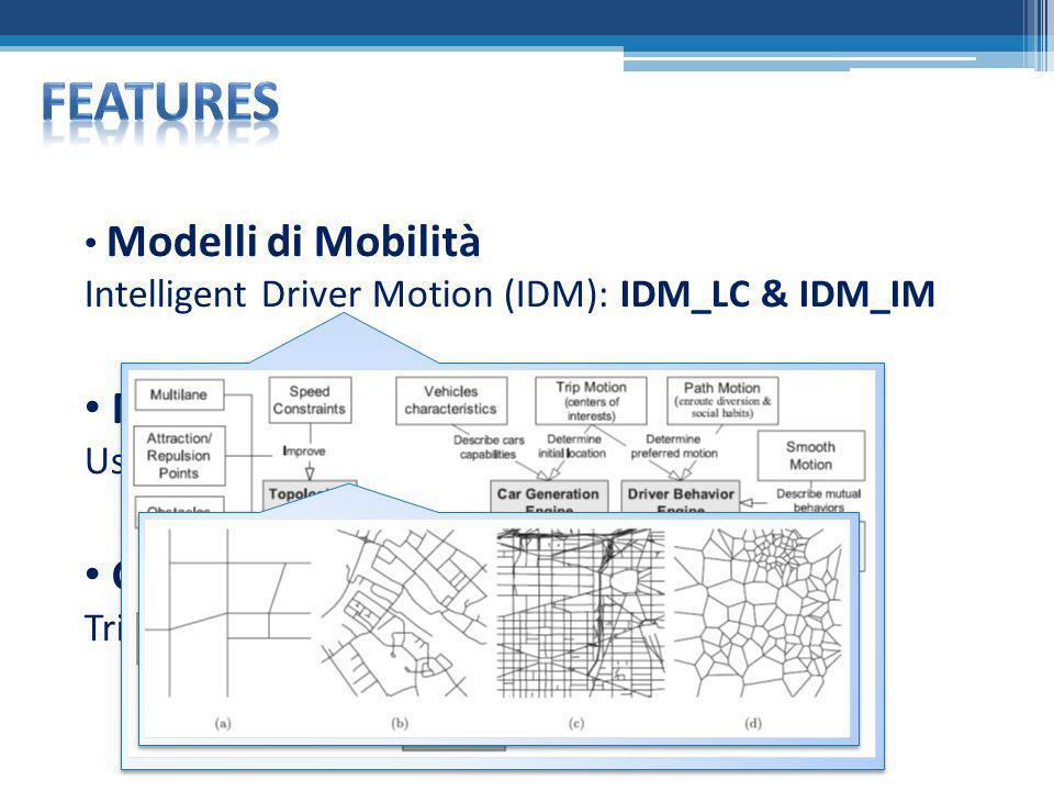 Features Modelli di Movimento Vincolato Generatore di Traffico