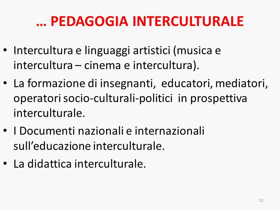 … PEDAGOGIA INTERCULTURALE