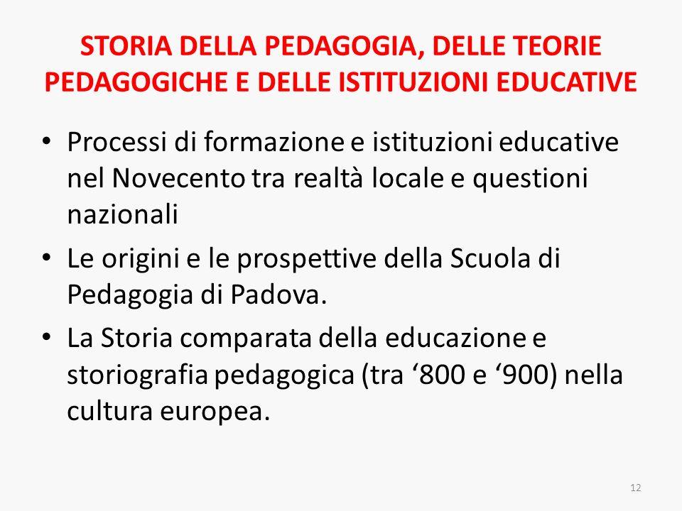 STORIA DELLA PEDAGOGIA, DELLE TEORIE PEDAGOGICHE E DELLE ISTITUZIONI EDUCATIVE