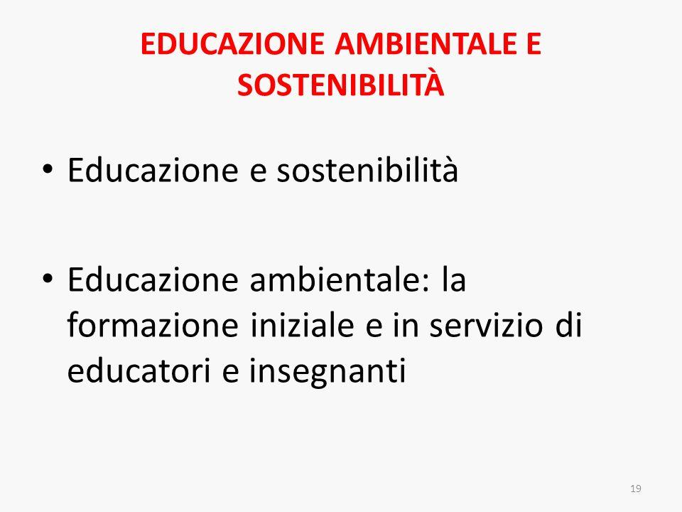 EDUCAZIONE AMBIENTALE E SOSTENIBILITÀ