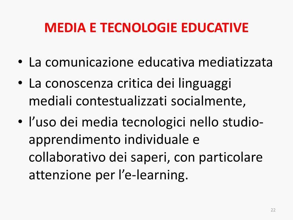 MEDIA E TECNOLOGIE EDUCATIVE