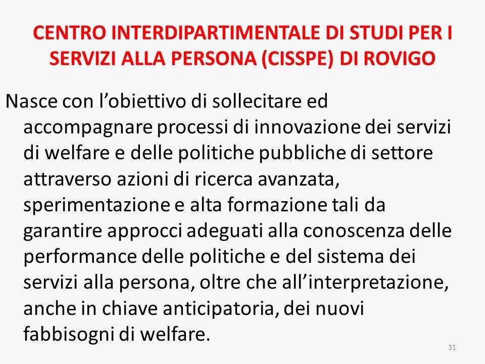 CENTRO INTERDIPARTIMENTALE DI STUDI PER I SERVIZI ALLA PERSONA (CISSPE) DI ROVIGO