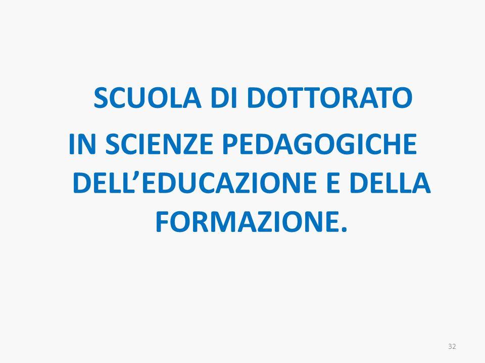 SCUOLA DI DOTTORATO IN SCIENZE PEDAGOGICHE DELL'EDUCAZIONE E DELLA FORMAZIONE.