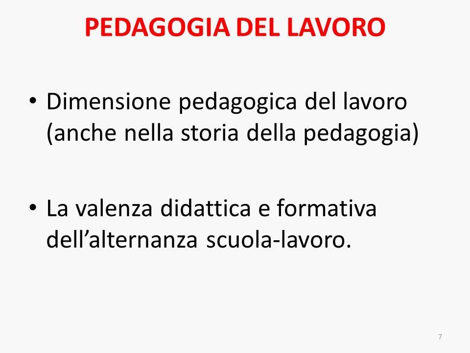 PEDAGOGIA DEL LAVORO Dimensione pedagogica del lavoro (anche nella storia della pedagogia)