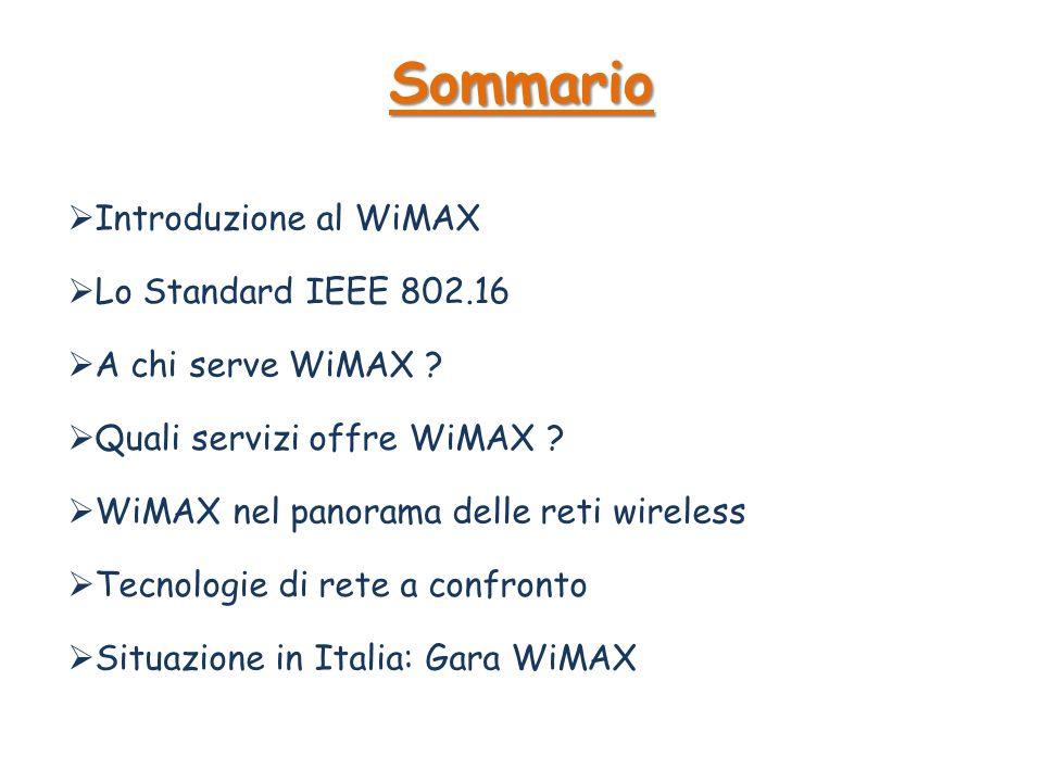 Sommario Introduzione al WiMAX Lo Standard IEEE 802.16
