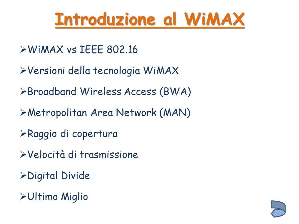 Introduzione al WiMAX WiMAX vs IEEE 802.16
